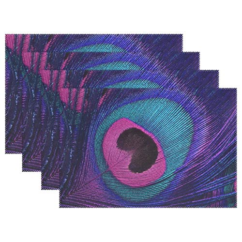 GOODSTHING Tischset, Classic Bright Peacock Tail Placemat Table Mat, Abstract 12