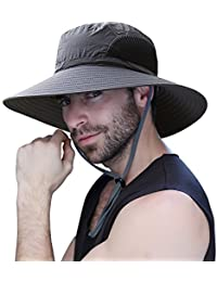 ff6f998e7ad487 Mens Sun Hat Summer Unisex Sun UV Protection Bucket Hat Outdoor Waterproof  Wide Brim Hat with Breathable Mesh…