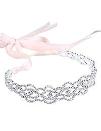 Santfe Fashion Crystal Rhinestone Color Dorado/bañado en plata 3en 1Jewelry–Collar de diadema Cadena de Cintura, ideal para boda novia dama novia