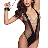 HARRYSTORE Women Bodystockings Fishnet Pajama Sexy Open Crotch Stockings Crotchles Fishnet Sheer Body Lingerie (Free, Black A)