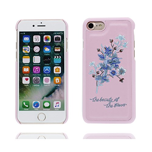 Case Cover iPhone 7 Custodia, iPhone 7 copertura Gel del silicone di [Liquid Crystal] copertura Slim Protection e Clarity Premium per iPhone 7 2016 (4.7 ) - fiore ( blu ) / ricamo Fiore Set 3