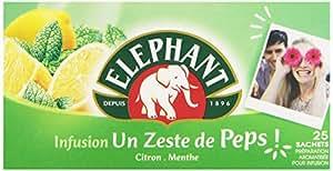 Elephant Infusion Un Zeste de Peps 25 sachets - Lot de 3