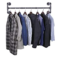 OROPY Industrial Pipe Clothes Rack, 105cm Wall Mounted Detachable Retro Metal Garment Bar Hanging Rail (Four Base)