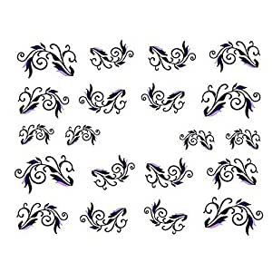 Manvik Pack Of Two Design Nail Art Water Transfer Sheet For Girls And Women Nail Glitter
