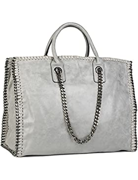 styleBREAKER Vintage Shopper Handtasche mit Kette in rockigem Style, Schultertasche, Tote Bag, Tasche, Damen 02012057