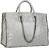 styleBREAKER Vintage Shopper Handtasche mit Kette in rockigem Style, Schultertasche, Tote Bag, Tasche, Damen 02012057, Farbe:Antik-Hellgrau