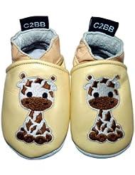 C2BB - Chaussons bebe cuir souple garçon   Girafe