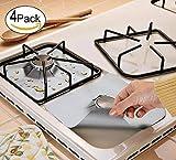 4 protecteurspour cuisinière au gaz parMoonvvin, feuille d'aluminium réutilisable, antiadhésif, va au lave-vaisselle, facile à nettoyer, approuvé par la FDA 10.6' x 10.6' Silver