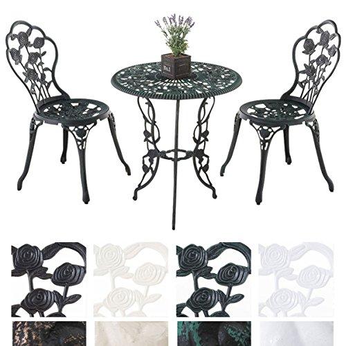 CLP Sitzgruppe GANESHA, Garten-Set Gusseisen, antik, Tisch rund Ø 65 cm Antik Grün