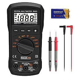 Tacklife DM03 Multimeter Digital Autorange Max Halten AC DC Spannung Strom Widerstand Messger?t mit Kabel Messleitung Messspitzen Krokodilklemmen und Batterie