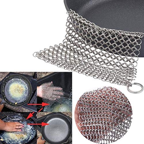EUTUOPU Ring Chainmail Scrubber, 316L Stainless Steel Rust Proof Scraper, Durable Cast Iron Cleaner for Pots, Skillets, Griddle Pans, BBQ Grills and More, with Hanging Ring (D)