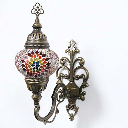 Wall Light Turkish Mosaic Sconce Lamp, Stunning Moroccan Style Handmade with large size (14 cm) Glass Globe by TK Bazaar (Peridot)