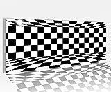 Acrylglasbild 100x40cm 3D Effekt schwarz weiß Quadrate Schach abstrakt Eingang Acrylbild Acryl Druck Acrylglas Acrylglasbilder 14A8536, Acrylglas Größe1:100cmx40cm