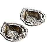 Two Piece Metal Diya Set With Oxidized Metal Finish For Diwali/New Year