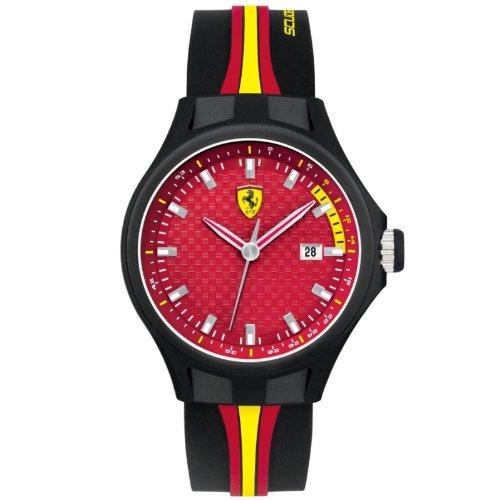 Ferrari - 830009 - Montre Homme - Quartz Analogique - Cadran Rouge - Bracelet Silicone Noir