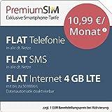 PremiumSIM LTE M Allnet Flat [SIM, Micro-SIM und Nano-SIM] 24 Monate Laufzeit (FLAT Internet 4 GB LTE mit max. 50 MBit/s mit deaktivierbarer Datenautomatik, FLAT Telefonie, FLAT SMS und FLAT EU-Ausland, 10,99 Euro/Monat)