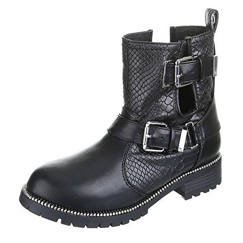 Damen Schuhe, PEGGI, BOOTS Schwarz Silber PEGGI