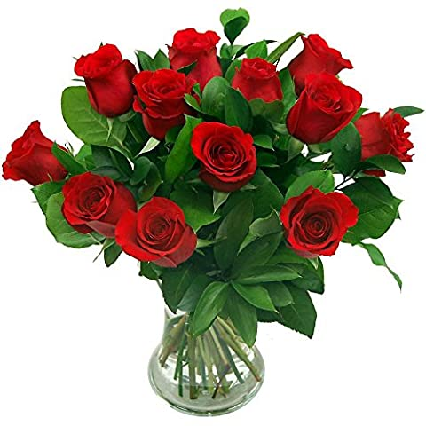 Clare Florist 12 Luxury Red Roses Fresh Flower Bouquet - Premium Fresh Roses Hand Arranged by Expert Florists