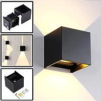 12W Led Applique Murale Exterieur / Interieur Noire, Anti-Eau IP65 Réglable Lampe Up and Down Moderne Design 3000K Blanc Chaud pour Chambre Maison Couloir Salon