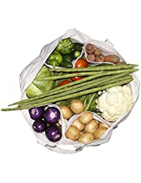 Multipurpose Cotton Vegetable/Fruit/Shopping Grocery Bag With Multi Pocket (17 X 8.5 X12 Inch) – White