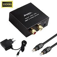 AMANKA 192kHz Convertidor Digital a Analógico, DAC Audio Óptico Coaxial(RCA) Toslink SPDIF a Audio Estéreo R/L + Jack 3.5mm con Cable Óptico
