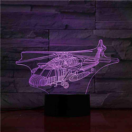 GZGNL Usb 3d led nachtlicht uh-60 utility hubschrauber flugzeug modell black hawk kämpfer dekorative lichter flugzeug tischlampe nachttischlampe -