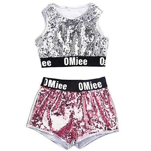unbrand Kinder Kostüme Mädchen Modern Jazz Hip-Hop Dancewear Baseball Kleidung Pailletten Mantel Kostüme