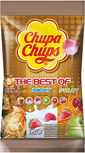 Preisvergleich Produktbild Chupa Chups Best of Lutscher-Beutel | 6 farbenfrohe Geschmacksrichtungen | 120 Lollis im Nachfüllbeutel