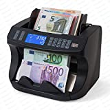 Geldzählmaschine Geldzähler Wertzähler S(R)E6000 von Securina24 Banknotenzähler Geldprüfer Geldprüfgerät (schwarz)