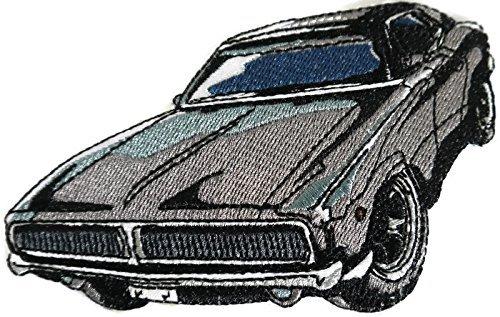 BeyondVision Klassische Autos Sammlung stickte Eisen Nähen Flecken 6 x3.5 grau, schwarz, weiß, rot