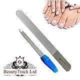 Lima diamantata per unghie e piedi 19 cm - Professionali unghie lima - Strumenti per la cura della mano e dei piedi - Acciaio inox con grana grossa e fine - Confezione da 2 lime per unghie