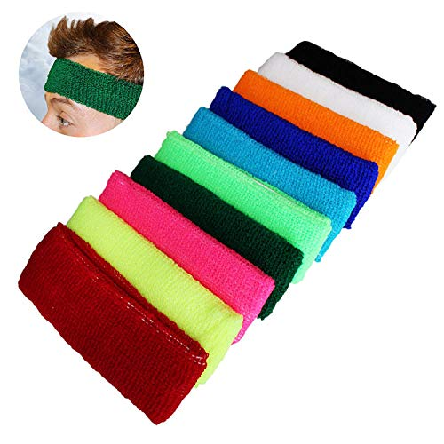 Kurtzy-10-pc-Headband-Sweatbands-Sports-Sweat-Bands-for-Men-Women-and-Children-Elasticated-Headbands-for-Sport-Cycling-Biking-Gymnastics-and-Athletics