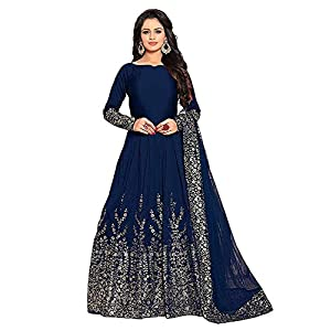 Varudi Fashion Women's Embroidered Semi Stitched Anarkali Gown (Mor1_Blue_Freesize)