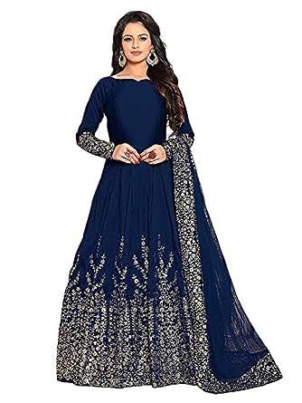 Varudi Fashion Women's Embroidered Semi-stitched Anarkali Gown (MOR1, Blue, Free Size)