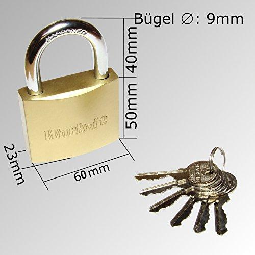 Vorhängeschloss massiv 63mm mit 6 Schlüsseln