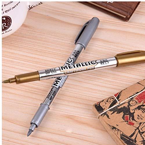 PiniceCore 2 Pezzi (Oro + Argento) Vernice Pen Metallo Colore Penna Tecnologia Oro E Argento 1,5 Millimetri Vernice Pen Studente Forniture MP550 Pennarello