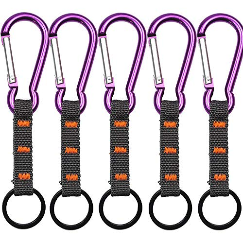 LIANAN IRWIN 5 Stück Lila Aluminiumlegierung Karabiner - Mit Nylonband Schlüsselanhänger für Camping, Angeln, Wandern oder Reisen