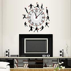 Winhappyhome baloncesto de los deportes del reloj DIY pegatinas de pared para habitaciones de niños Vida Dormitorio Inicio Etiqueta Decoración (batería no incluida)