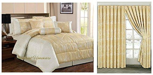 Floral Twin Tröster Set (Jacquard, Luxus 7Stück Tröster Set, Tagesdecke & Passende Vorhänge (167,6x 182,9cm), Jaquard-Gewebe, cremefarben, King Size)