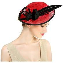 HBF Cappello Donna Elegante Tessuto di Sinamay Cappello da Sole Vintage  Accessori per Donna a06d01916278