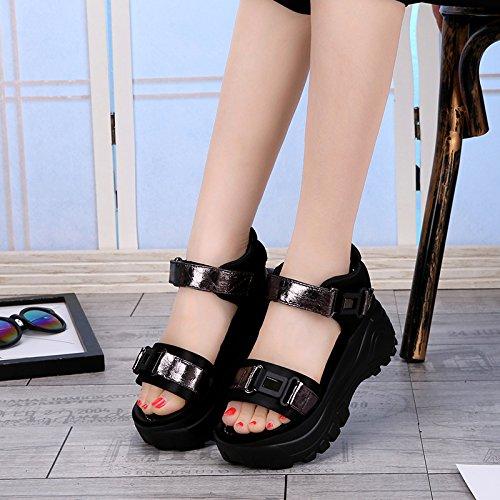 Khskx-i Femme Sandales Plage Chaussures Avec Épaisse Semelles Éponge La Nouvelle Vague D'étudiants Coréens Gun Couleur