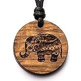treeforce Indischer Elefant Halskette, Schlüsselanhänger oder Auto- Anhänger 3in1 DIY Schmuck aus Kupfereiche