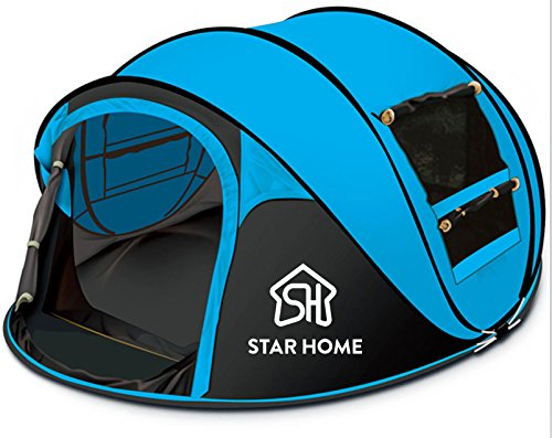 STAR HOME Camping Zelt Pop up Zelt 3-4 Personen (Blau)