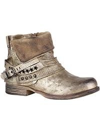 92a651d9d4b179 Stiefelparadies Damen Stiefeletten Biker Boots mit Blockabsatz Schnallen  Nieten Flandell