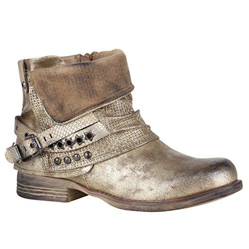 Damen Stiefeletten Biker Boots Nieten Schnallen Leder-Optik Schuhe 148773 Gold Glitzer 40 Flandell