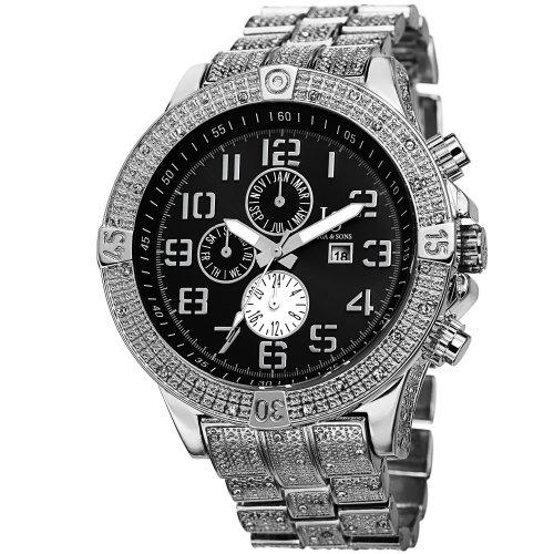 Joshua & Sons Reloj con movimiento cuarzo suizo JS78SSB 50 mm