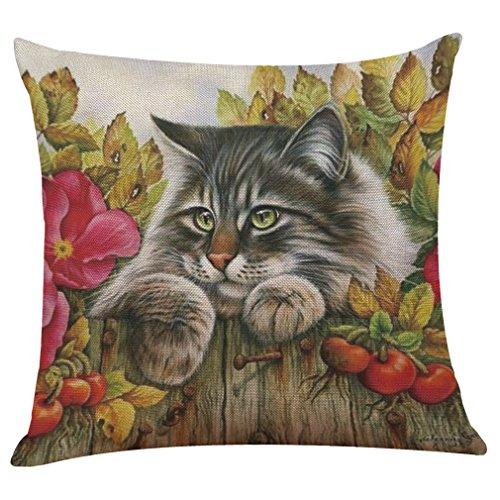 KUDICO Kissenbezug Süße Katze Druck Kissenbezüge Kissenhülle Dekorative Kissen Fall Wurfkissen Für Sofa Couch Schlafzimmer 45 * 45cm (D, 45x45 cm) -