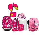 Ergobag Pack RhabarBär Schulrucksack-Set 6tlg + Regenhaube Pink + Sicherheitsset Pink