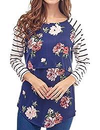 IOSHAPO Tops de Lactancia de múltiples Funciones de Las Mujeres Tops de enfermería de Doble Capa de Maternidad a Rayas de Costura de Primavera Mujeres Embarazadas Camisas