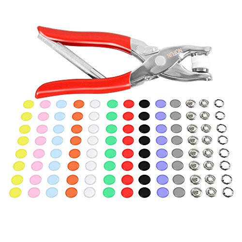 Preisvergleich Produktbild LOMATEE Druckknopf set mit Zange inkl. 150 Stk. Metall Druckknöpfe in 10 Farben + Druckknopfzange massive Druckknöpfe nähfrei